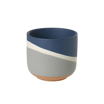"Small Navy Geometric Striped Ceramic Colorway Pot - 3.5"" Tall"