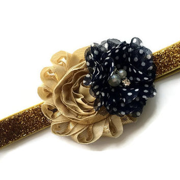 Navy Blue and Gold Flower Headband for Girls -Gold Glitter Headband for Spring -Glitter Gold Head Band - Spring Headband Photo Prop -