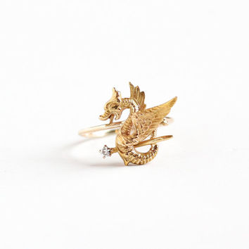Antique 10k Yellow Gold Mythological Dragon Diamond Ring - Vintage Late 1800s Fine Stick Pin Conversion Sceptor Sword Flying Animal Jewelry