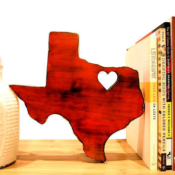 Texas With Heart Pictured In Red Hot Wooden Sign State