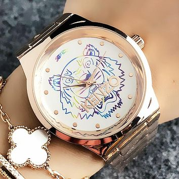 KENZO Fashion New Dial Colorful Tiger Letter Couple Leisure Wristwatch Watch