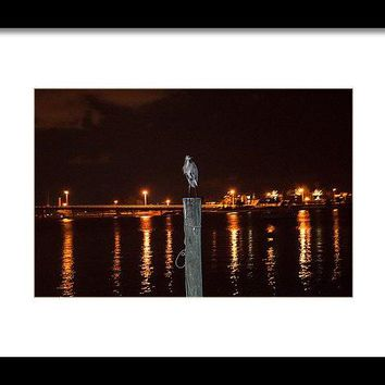 Blue Heron Night - Framed Print