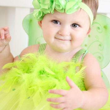 Adorable TinkerBell Costume TinkerBell Tutu Dress Fairy Feathers with Wings and Headband or ANGEL Costume for Baby Girl 6-18 Months Old