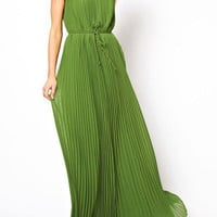 Green Drawstring Pleated Maxi Dress
