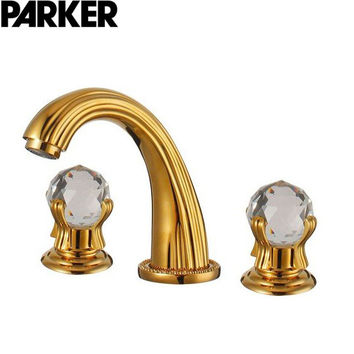 The Golden Three Hole Basin Faucet Double Crystal Head Three Leading European Classical Gold Plated Faucet