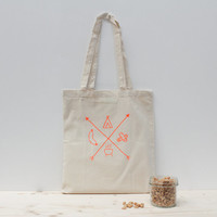 Neon orange hand screen printed tote bag - Camping saucisse