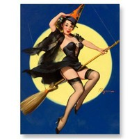 Halloween Witch Pin Up Girl Post Cards from Zazzle.com