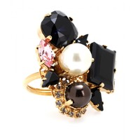 erdem - gold-plated swarovski crystal and pearl-embellished ring