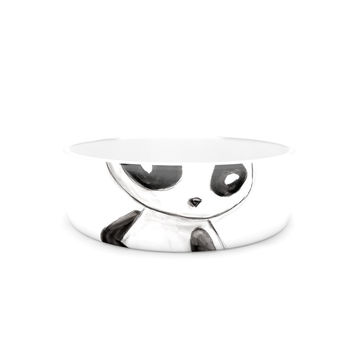 "Geordanna Cordero-Fields ""My Panda Sketch"" Black White Pet Bowl"