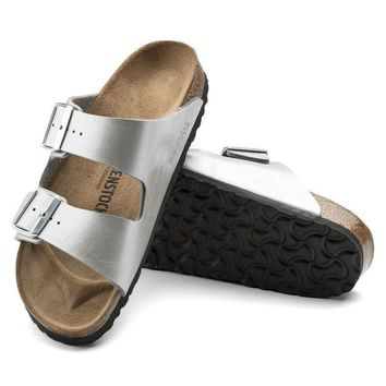 Sale Birkenstock Arizona Birko Flor Graceful Silver 1009603/1009602 Sandals