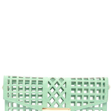 Glad to See Through Cutout Mint Clutch