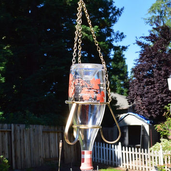 Repurposed Glass Bottle Hummingbird Feeder