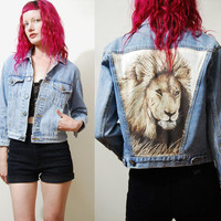 90s Vintage CROPPED Denim Jeans Jacket LION PATCH Grunge vtg 1990s Crop Pale blue xxs xs