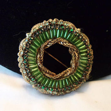 Miriam Haskell Green Circle Brooch Glass Rhinestone Vintage Ornate Flower Filigree Bead Pin
