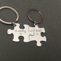 Mom Dad Puzzle Keychains, mothers day gift, fathers day gift , Anniversary Gift