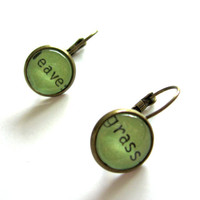 Leaves of Grass Walt Whitman Mint Green Grass Green Reclaimed Library Card Word Earrings Patina Brass LIMITED EDITION COLOR