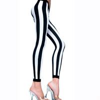 Black & White Vertical Stripe Gothic Footless Tights