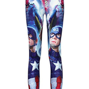 Captain America Print Bodycon Ankle Leggings