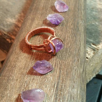 Raw amethyst ring amplified amethyst ring amethyst wire wrap copper ring liveartstudios