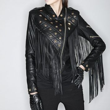 Stars rivet beaded Slim Long Fringed motorcycle jacket