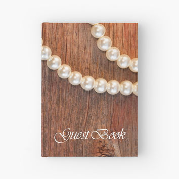 'Rustic Barn Wood and Pearls Wedding Guest Book' Hardcover Journal by Lora Severson