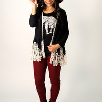 Roxy Knit Cardigan with Lace Trim: Black