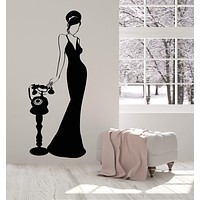 Vinyl Wall Decal Retro Lady In Dress Woman With Vintage Antique Phone Stickers (2997ig)