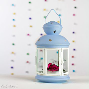 Aqua, White Spring and Summer Party Decorations - Decor - Lantern - Centerpiece - Customized Outdoor Lantern - Beach Wedding Candle Holder