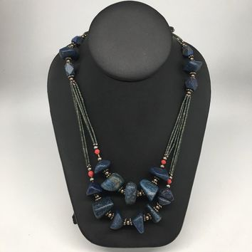 "99.3g, Lapis & Green Nephrite Jade Multi-Strands Beaded Necklace, 22"",NPH65"