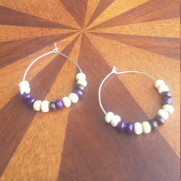 Deep purple plum and white wooden bead hoop earrings