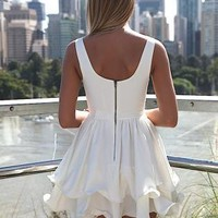 White Sleeveless Dress with Double Frill Hemline