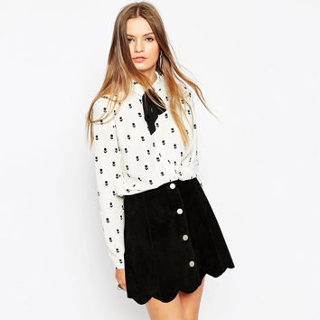 Black and White Floral Print Long Sleeve Blouse with Ribbon Details