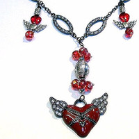 """Handmade  """"Valentines Day SALE"""" Necklace Heart and Crystals 27"""" in length"""