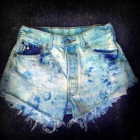 "Vintage High Waisted Studded Bleach Wash Levis Cut Off Shorts 28"" Waist"