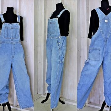 90s overalls size M / L  36 x 30/  bib overalls / Vintage Gap / utility carpenter bibs / Mens or Womens light wash grunge overalls