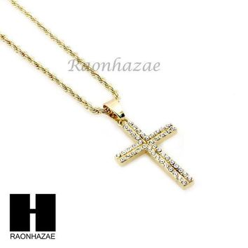 ESBONRC MENS ICED OUT GOLD SILVER MINI CROSS CZ PENDANT 24' ROPE CHAIN NECKLACE SET SC18