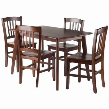 Shaye 5-PC Set Dining Table w/ Slat Back Chairs