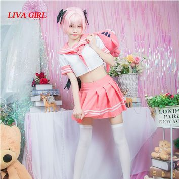 Anime Fate/Apocrypha Astolfo Cosplay Costumes Japanese Student Girls School Uniforms Pink Sailor suit Full Sets