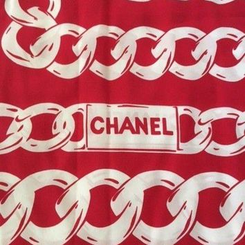 GCKWA2 Huge, Gorgeous CHANEL red Rue Cambon silk scarf 50'x50'