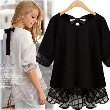 Halter Mesh Sleeve Layered Blouse