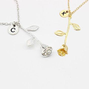 Rose Pendant Necklace 26 Letter Personalized Name Jewelry