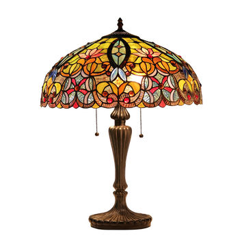 "LIBBYTiffany-style 2 Light Victorian Table Lamp 18"" Shade"