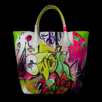 Original Graffiti Art Hand Painted by Xtresses Studio Artist Luxury One of a Kind Boutique Italian Genuine Leather Large Handbag