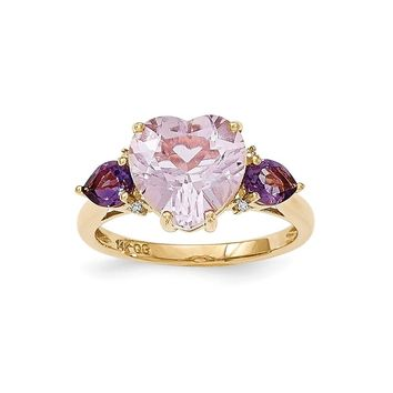 14k Yellow Gold Pink Quartz & Amethyst And Diamond Ring