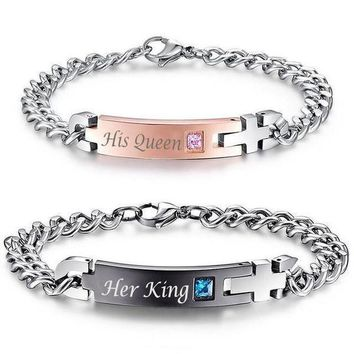 """His Queen"", ""Her King"" Stainless Steel Couple Bracelets"