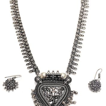 Oxidized Tribal pendant Long Necklace and Earring set