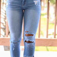 Wild West Light Blue Wash Destroyed Crop Denim