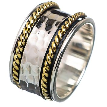Spinner Ring Two Tone Hammered & Rope Design