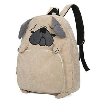 Women Corduroy Cute Animals Backpack Pity Dog Pattern Shoulder Bag