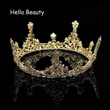Gold Color Baroque Vintage Men Diadem Large Crystal Full Round Prom King Crown Wedding Pageant Queen Tiara Bridal Hair Jewelry